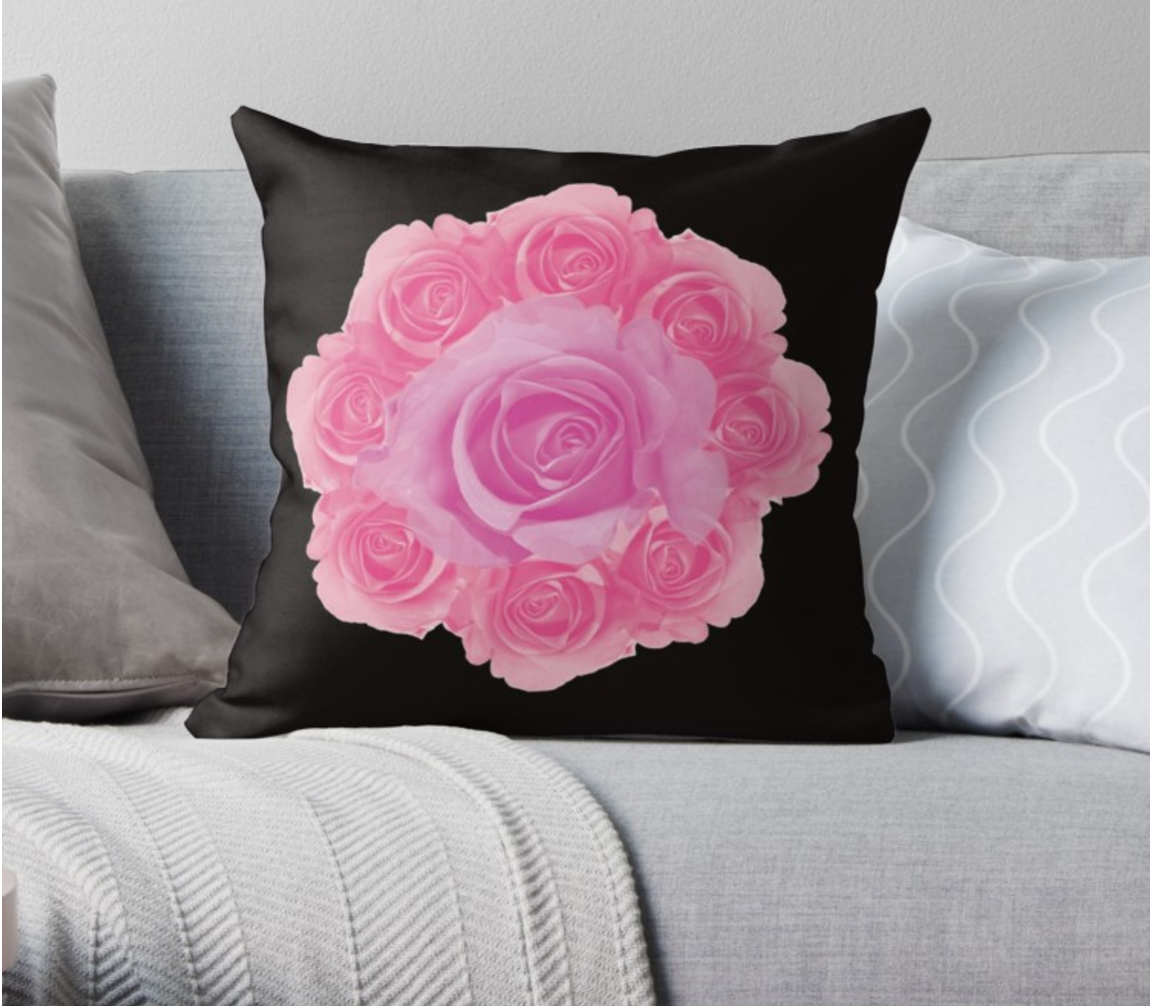 "Coussin ""Rose is a rose"""