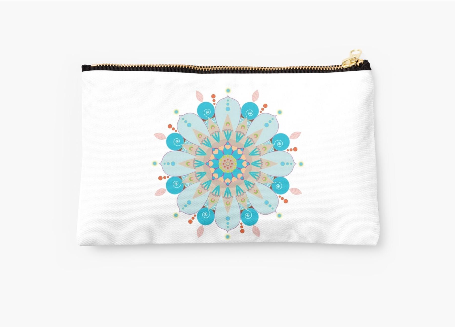 Pochette Mandala fleur, bleu
