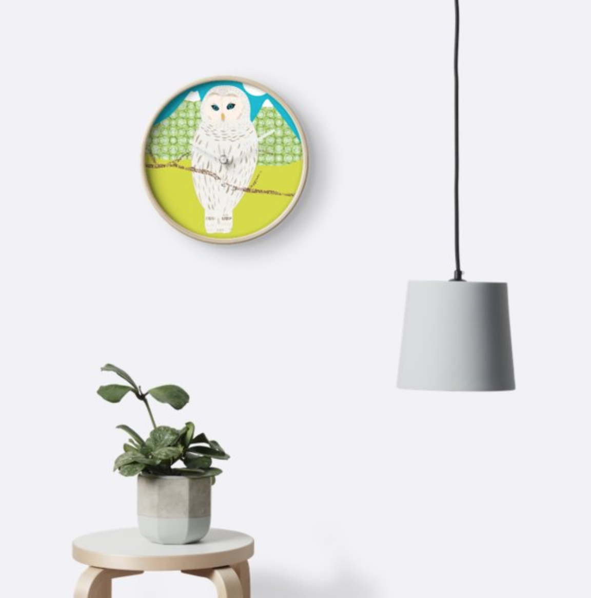 "Horloge ""Blanche, la chouette by Rosa Lee Design"